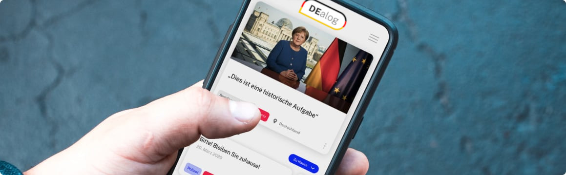 Smartphone-Screen mit DEalog-App
